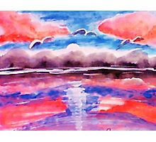#3 Pink sunset in abstract, revised, watercolor Photographic Print