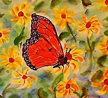 Monarch in the flowers, revised, watercolor by Anna  Lewis