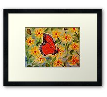 Monarch in the flowers, revised, watercolor Framed Print