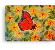 Monarch in the flowers, revised, watercolor Canvas Print