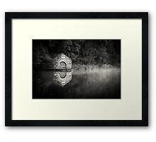 Electric Boathouse in Mono Framed Print