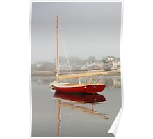 Red Catboat on Provincetown Harbor Poster