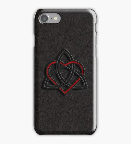 Celtic Knot Valentine Heart Black Leather iPhone Case/Skin