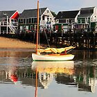 Catboat and Cottage Wharf   by Roupen  Baker