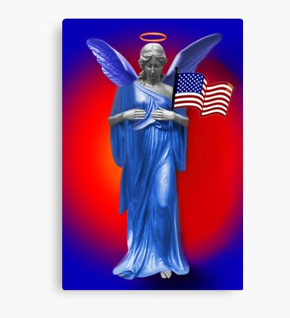 PATRIOTIC ANGELIC PROTECTION FOR THE U.S.A. THROW PILLOW Canvas Print
