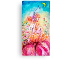 ALTHEA /Whimsical Fairy on the Pink Flower Canvas Print