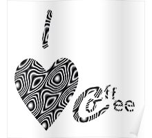 I Love Coffee Black and White Poster