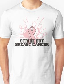 Strike Out Breast Cancer Bowling T-Shirt Unisex T-Shirt