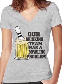 Funny Bowling Team T-Shirt Women's Fitted V-Neck T-Shirt