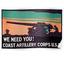 We need you! Coast Artillery Corps USA Poster