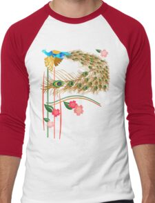 Flying Peacock and Cherry Blossoms Men's Baseball ¾ T-Shirt