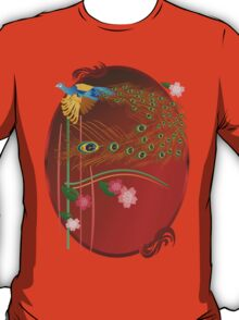 Flying Peacock and Cherry Blossoms T-Shirt