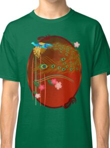 Flying Peacock and Cherry Blossoms Classic T-Shirt
