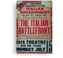 Thru special arrangement with the Italian government the Italian battlefront Canvas Print