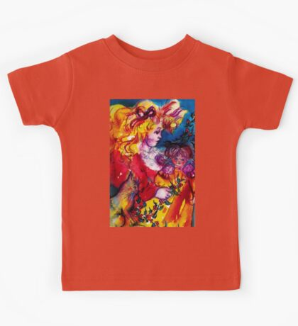 LITTLE GIRL WITH CHRISTMAS GIFTS , PRETTY DOLL AND CAT   Kids Tee
