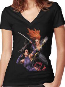 Psylocke vs. Black Widow Women's Fitted V-Neck T-Shirt