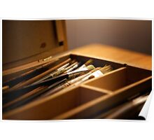 Paintbrushes in paint box Poster