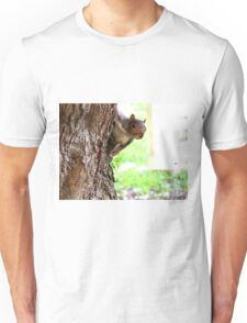 Squirrel Peeking Around A Tree Unisex T-Shirt