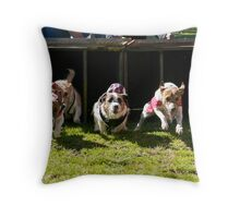And they're off! Throw Pillow