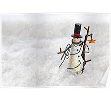 Christmas Snowman in Snow Poster