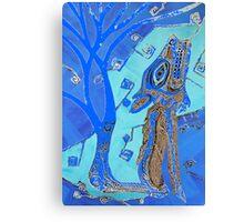 Coyote in Dark Blue Canvas Print