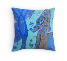 Coyote in Dark Blue Throw Pillow