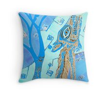 Coyote in Light Blue Throw Pillow