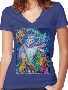 SNOWMAN WITH CHRISTMAS TREE, OWL AND TOYS Women's Fitted V-Neck T-Shirt