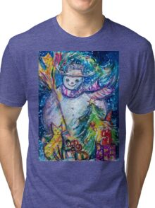 SNOWMAN WITH CHRISTMAS TREE, OWL AND TOYS Tri-blend T-Shirt