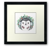 Holiday Hedgie - Watercolor - Willow Heath Framed Print
