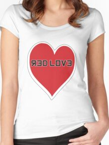 Red Love Heart Women's Fitted Scoop T-Shirt