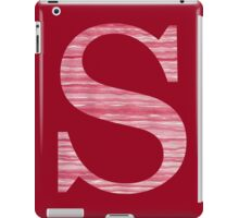 Letter S Red Watercolor Stripes Initial Monogram iPad Case/Skin