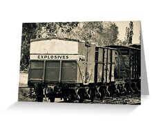 Vintage train carriage - explosives Greeting Card