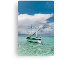 Maldivian Boat Dhoni on the Peaceful Water of the Blue Lagoon Canvas Print