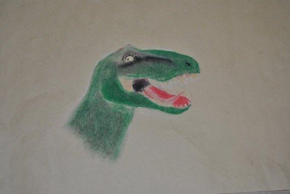 t rex oil pastel by heartoftheocean