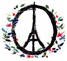 Pray for Paris flowers Sign peace and love Photographic Print
