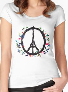 Pray for Paris flowers Sign peace and love Women's Fitted Scoop T-Shirt