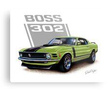 1970 Boss 302 Mustang in Grabber Green Metal Print