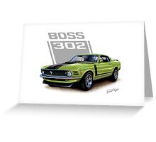 1970 Boss 302 Mustang in Grabber Green Greeting Card
