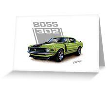 1970 Boss 302 Mustang in Grabber Green Greeting Card