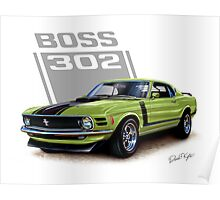1970 Boss 302 Mustang in Grabber Green Poster