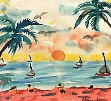 Revised, seascape with sailboats at sunset, watercolor by Anna  Lewis