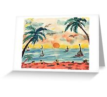 Revised, seascape with sailboats at sunset, watercolor Greeting Card