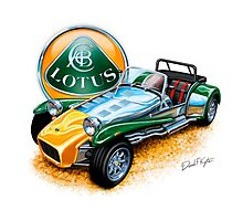 Lotus Super 7 in British Racing Green and Yellow Photographic Print