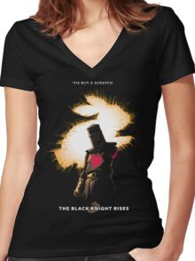 The Black Knight Rises (Text Version) Women's Fitted V-Neck T-Shirt