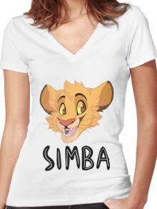 Simba- With Name Women's Fitted V-Neck T-Shirt