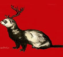 Holiday Antler Ferret by sneercampaign