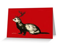 Holiday Antler Ferret Greeting Card