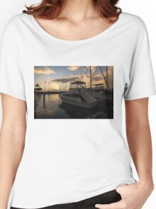 Lines, Masts and Clouds - Ala Wai Boat Harbor, Waikiki, Honolulu, Hawaii  Women's Relaxed Fit T-Shirt