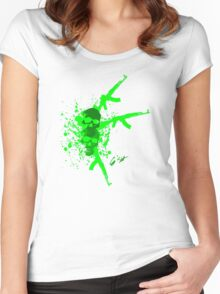 skull and guns Women's Fitted Scoop T-Shirt